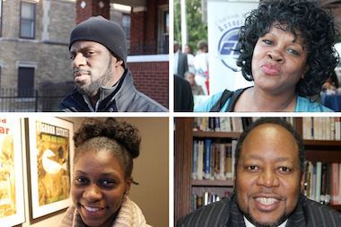 "ComEd's Black History Month ""Power of One Campaign"" honors neighborhood heroes. Clockwise, from left, Che ""Rhymefest"" Smith of Chatham, Diane Latiker of Roseland, Rev. Leonardo Gilbert of West Pullman, and Anta Njie of West Chatham."