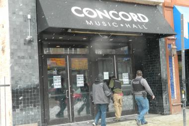 Three men were taken to local hospitals with minor injuries after a portion of the Concord Music Hall's ceiling collapsed.