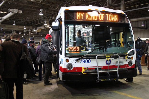 On Wednesday, the CTA unveiled the first of its 300 new clean-diesel buses. Each 40-foot bus features LED lighting, bigger windows and seamless flooring.