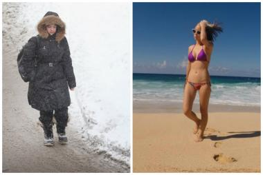 A woman walks in Chicago's bitter cold, and a woman chills on a beach in the Hawaiian islands.