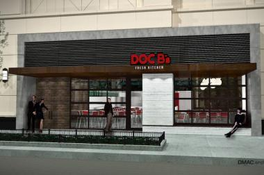 A rendering of the planned exterior for the restaurant at 55 E. Grand Ave.