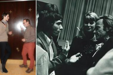 Left: Don Geci (l.) meets with Lawrence Krauss on Friday in Chicago. Right: Krauss, (l.) as a teenager meets with one of his science heroes, Richard Feynman. Krauss said he was happy to return the favor to Geci, a junior at Lake View High School who considers Krauss a role model.