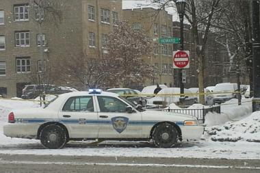 Evanston police investigate a shooting on the Chicago-Evanston border Saturday.