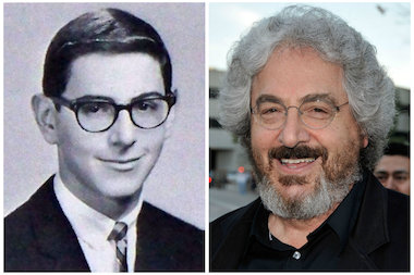 Harold Ramis in his high school yearbook and in 2009.