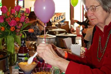 Resident Helen Long Carlock attends last year's Heat It Up! chili cook-off.