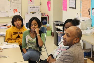 John Paul Jones, president of the nonprofit Sustainable Englewood Initiatives, spoke to Lindblom high school students Wednesday, Feb. 19, 2014, about life as a community activist.