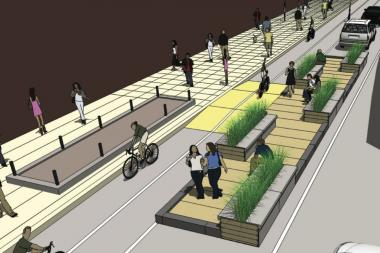 "Two parking spaces at Dearborn and Adams streets will be transformed into ""People Spots"" for pedestrians."