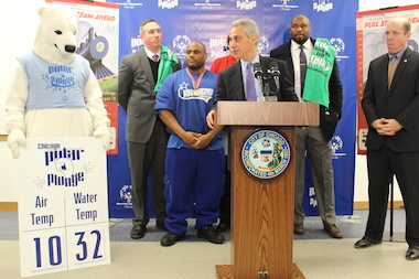 Mayor Rahm Emanuel said Friday said he wasn't intending to stay long in the 32-degree water in Sunday's Polar Plunge.
