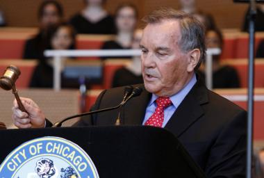 Outgoing Chicago Mayor Richard M. Daley gavels the close of his last city council meeting during a swearing-in ceremony for mayor-elect Rahm Emanuel in in Grant Park May 16, 2011 in Chicago, Illinois. Emanuel replaces former mayor Richard M. Daley, who had a 22-year run as Chicago's top politician.