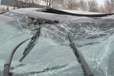 Part of the exterior of Nancy Heffernan's 2011 Honda Odyssey after a Jan. 9 accident near Indianapolis.