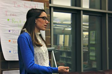 Ogden's new vice principal, Erica Gagne, at a Local School Council meeting