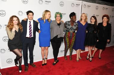 "Natasha Lyonne (l.), Jason Biggs, Taylor Schilling, creator Jenji Kohan, Danielle Brooks, author Piper Kerman, Taryn Manning and Kate Mulgrew attend an ""Orange Is the New Black"" event on Oct. 2, 2013, in New York City."