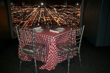 "Randy Stancik's ""Pie-in-the Sky"" idea offers Giordano's Chicago-style pie on ""The Ledge"" at Willis Tower."