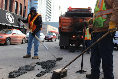 "Mayor Rahm Emanuel announced pothole ""strike teams"" would be focusing on arterial streets every Monday and Friday."