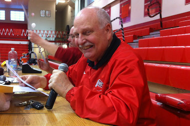 Randy Coe has been a public address announcer for Marist High School athletic events for 35 years. He has missed only one assigned game during that time.