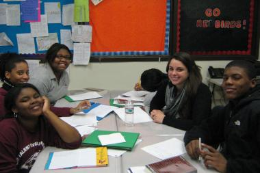 "The ""ReadThenWrite"" program by the nonprofit Open Books at Chicago Development Talent Development High School was a big hit in 2013, said volunteer Charlotte Woolley (upper right)."