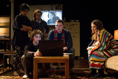 "Cast members during a production of reWILDing Genius,"" including (from left to right) Stephanie Shum, Will Cavedo, Caitlin Chuckta, Evan Linder and Sarah Gitenstein."