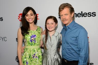 "Actors Emmy Rossum, Emma Kenney and William H. Macy attend a screening of Showtime's ""Shameless."""