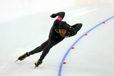 Shani Davis races Wednesday at the Sochi Olympic Games.