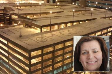 Shari Hart's 14-year-old son, Will, left a giant message in the snow on top of Rush University Medical Center's parking garage, which was visible from his mom's room at the hospital. She was recently diagnosed with leukemia.