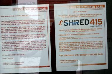 A sign in the window of The Mercury Method informs customers that Shred415 is coming next.