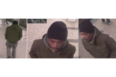 Police released photos Tuesday of a man suspected of robbing a two women on the Blue Line.