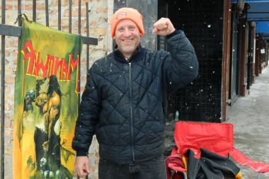 Tim Burgin, 47, of Lincoln Square was prepared to stand in line for the Manowar concert for hours even if they were unsure if the concert would happen.