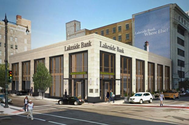Renderings of the new Lakeside Bank location coming to Michigan Avenue and 14th Street.
