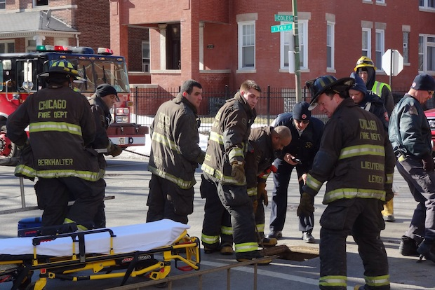 Fire crews rescued an injured utility worker from a manhole Thursday.