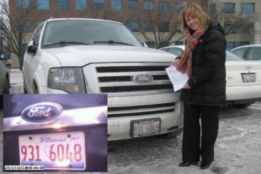 Maureen stands in front of her vehicle in a suburban parking lot showing off the letter from the city dismissing her ticket. Inset: A photo from the city's website shows the license plate of the vehicle should have received the ticket she was issued.
