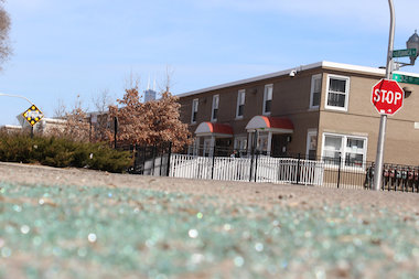 Shattered glass from a hail of gunfire that struck a parked car hasn't been cleaned up since a March 28 shooting in the 3200 block of South Lituanica Avenue.
