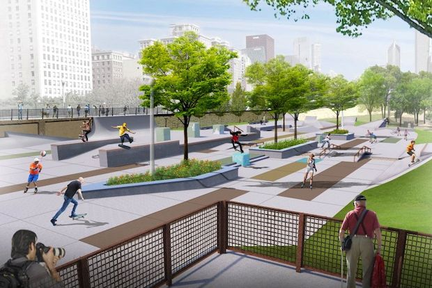 After cementing a $2.5 million budget to build a skate park in the southern tip of Grant Park, the Grant Park Conservancy released fresh renderings that showcase a scaled-back design, cutting a planned stage and screen and rearranging the park's wheel-friendly infrastructure.