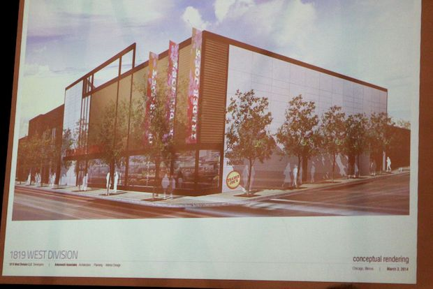 A proposed plan to bring a Trader Joe's to 1819-25 W. Division St. in Wicker Park was discussed at a community meeting on Monday.