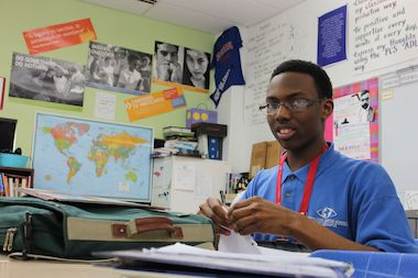 Debate champ Anthony Adams, a senior at Perspectives Rodney D. Joslin school in the South Loop.