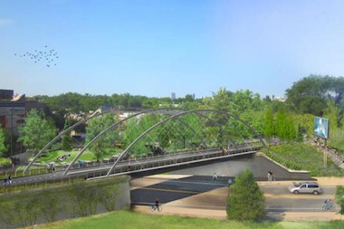 A rendering of the a bridge at Milwaukee and Bloomingdale avenues as part of the Bloomingdale Trail.
