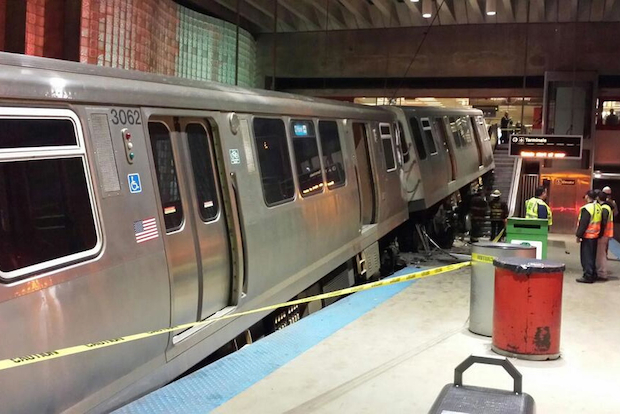 "An ""L"" train derailed and ended up atop an escalator at the O'Hare Blue Line Station early Monday morning, injuring 35 people, according to authorities."
