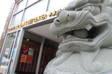 The teeth of the decorative lions outside the Chinese-American Museum of Chicago were destroyed by a hammer-wielding man in Chinatown.