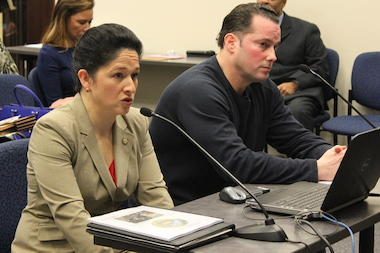 City Clerk Susana Mendoza and Pocket Puppies owner Lane Boron offered opposing testimony on the proposed ban on pet-store sales.