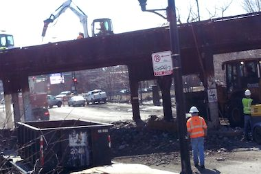 Initial work on the bridge at Milwaukee Avenue and Leavitt Street began on Friday and was complete by late afternoon Saturday.