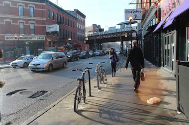 A woman was stabbed in Wicker Park after leaving a bar early Friday, police said.