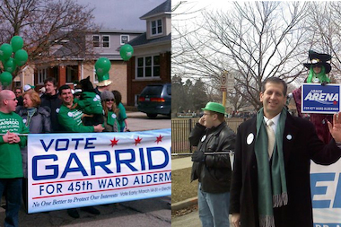Left, John Garrido campaigns in the 2011 Northwest Side Irish Parade. Right, John Arena campaigns in the 2011 Northwest Side Irish Parade.