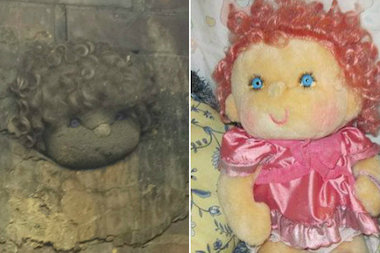 The doll encased in cement at the Bill Jarvis Migratory Bird Sanctuary has been identified as a Hugga Bunch doll from the 1980s.