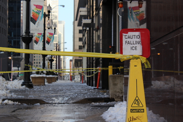 Randolph Street, between Wacker and Canal, was closed by police Thursday afternoon due to falling ice concerns.
