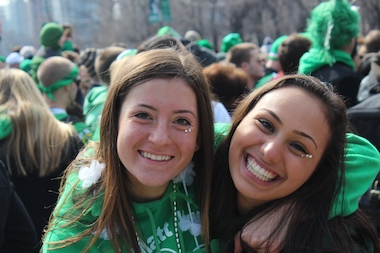 Michelle Raymond, 18, and Gabbi Heidrich, 17, of Palatine traveled Downtown to enjoy their first St. Patrick's Day Parade in the city in 2014.