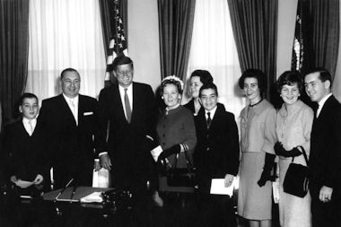 John Daley, center with dark tie, is seen here during a 1961 visit with his family to the White House.