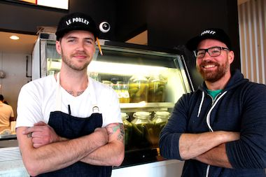 Leghorn Chicken's chef Sieger Bayer (l.) and Jared Van Camp from Element Collective, owners of the new fried chicken restaurant at 959 N. Western Ave.
