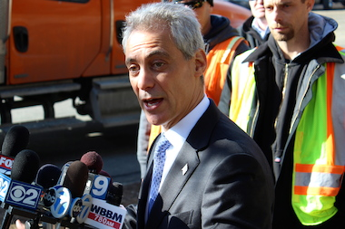 "Backed by pothole crews, Mayor Rahm Emanuel said Monday he wanted to ""make sure we're on top of our game"" with street repairs."