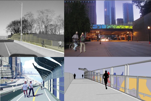 Renderings of the Navy Pier Flyover.
