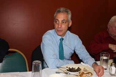 Mayor Rahm Emanuel met with black journalists on March 28, 2014, at Ruby's, a soul-food restaurant in Austin, and discussed why improving public education is key to fixing other city issues, such as crime.