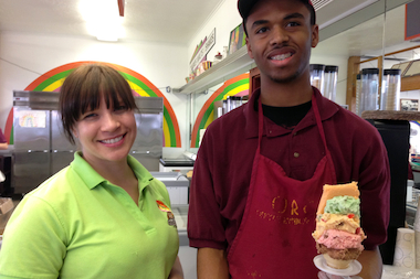 Original Rainbow Cone manager Michelle Desnoyer and Rainbow Cone assemblyman Jinks Riddle welcome back customers after a long, hard winter.